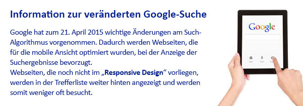 Information zur veränderten Google-Suche