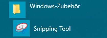 Snipping Tool im Windows Startmenü