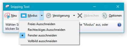 Snipping Tool - Modusauswahl